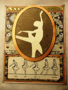 Ballet Card  cameo style rustic ballerina card blank by rensattic