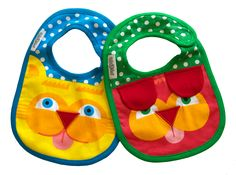 Two cute and colourful organic cotton baby bibs. Miao & Bau  Packaged in an organza bag with labelling will make for a perfect baby shower gift. Suitable for ages up to 2 years.