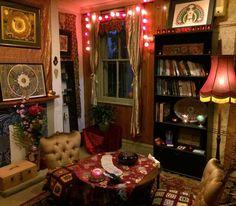 My Tarot room up at Suzy Spoon's Vegetarian Butcher, Newtown, Sydney, Australia - 2013 Bedroom Inspo, Bedroom Decor, Decor Room, Ville Rose, Witch Room, Room Goals, Cool Rooms, My New Room, Bohemian Decor