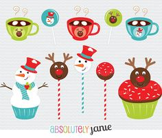 Christmas Sweets Clip art Set North Pole, Cake Pops, CupCakes, Cocoa