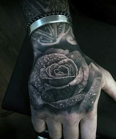 Black Rose Hand Tattoos