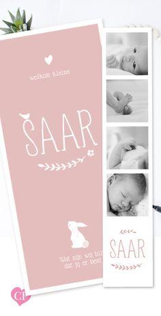 Geboortekaartje meisje | pink | roze | konijntje | met lieve foto's | hartje | oud roze | lief | fotostrip |