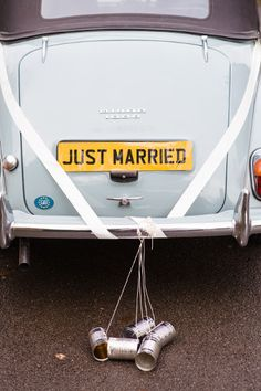 Romantic ideas for your wedding reception - just married car idea http://www.weddingandweddingflowers.co.uk/article/1401/10-romantic-ideas-for-your-wedding-reception
