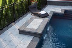 Dalle Prestige, gris granite et couronnement Prestige droit anthracite | Prestige slab, granite gray and prestige straight coping, anthracite