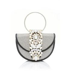 Mini Brigitte Clutch with Crystals   Moda Operandi ($810) via Polyvore featuring bags, handbags, clutches, chain handbags, miniature purse, white purse, chain purse and mini handbags
