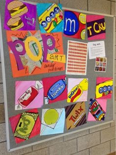 pop art lesson for middle school. Candy and art. Art at Becker Middle School: Pop Art! Easy Art Projects, School Art Projects, School Ideas, Pop Art Drawing, Art Drawings, Pop Art For Kids, Pop Art Artists, 7th Grade Art, Candy Art