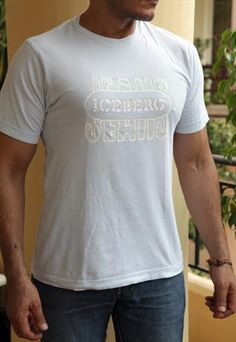 ICEBERG Jeans T-Shirt, Baby Blue, White