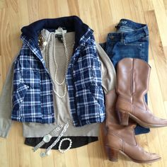 Outfit, fashion, style, thrifted, plaid, pearls, sequins, Instagram @emily_soto