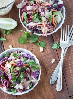 Cabbage Slaw with Ginger-Tahini Dressing