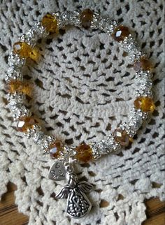 Hope Angel Bracelet Topaz Swarovski Crystal. by HopeAngelBracelets