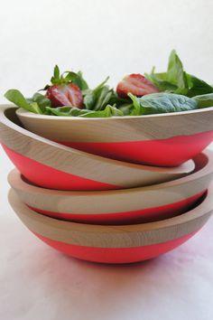 "Wooden Salad Bowl, 7"" Neon PINK. via Etsy."