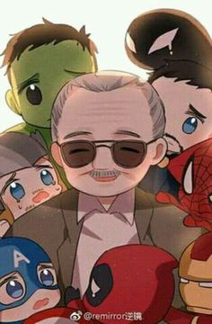 Stan Lee and his children - Rest in peace Stan the godfather - Art 2 Stan Lee, Marvel Fan Art, Marvel Dc Comics, Marvel Avengers, Memes Marvel, Marvel Funny, Funny Comics, Mundo Marvel, Spiderman