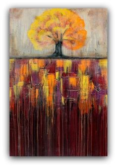 Tree In Autumn Landscape - Textured Painting - Large Wall Art - Abstract Landscape Painting