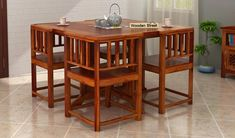 Buy Cohoon 4 Seater Dining Set (Honey Finish) Online in India - Wooden Street Space Saving Dining Table, Dinning Table Design, Wooden Dining Table Designs, Dining Table Online, Wooden Dining Tables, Modern Dining Table, Dining Table Chairs, Dining Set, Four Seater Dining Table