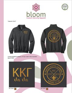 b68fdee82567 Kappa Kappa Gamma Quarter Zip Sweatshirt made by Bloom Sorority Apparel  Sorority Outfits