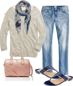 """""""Madewell Sweatshirt Sweater & Tory Spectator Middy"""" by nstob ❤ liked on Polyvore"""