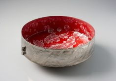 Intense Red Crystalline Bowl by Dean Smith