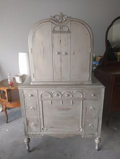 "I have never seen a piece anything like this one before. So naturally I had to have it! LOL I painted it a metallic-yish color to make it pop. What do you think?  The dimensions are 37.5"" L, 21"" W, 65"" H. SOLD!! for $375 Shabby Chic Chest Of Drawers, Armoire, Metallic, Vanity, Pop, Furniture, Color, Home Decor, Clothes Stand"