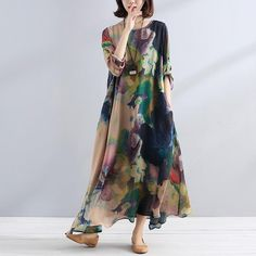 Charming Women Casual Loose Retro Floral Silk Long Sleeves Dress