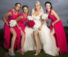 Hot Pink Long Bridesmaid Dresses