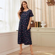 Women's Polyester O-Neck Sleepwear With Print   ZORKET   Material: COTTON, Polyester • Dresses Length: Mid-Calf • Decoration: NONE • Obscene Picture: No • Material: 5% Cotton, 95% Polyester • Type: Print