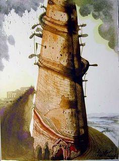 """Turris Babel"", gouache von Salvador Dali (1904-1989, Spain)                                                                                                                                                                                 Mehr"