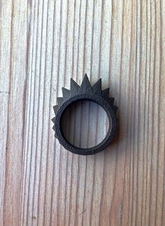 Geometric spiked matte black stainless steel ring made with 3D printing technology - MBDdesign