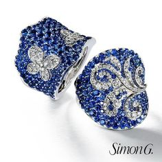 We have the perfect cure for your Monday Blues: These luminous Sapphire rings!  Left: LP2325  Right: LP2326  #SimonG #Fashion #Jewelry #Sapphire #MondayBlues #OOTD #AOTD