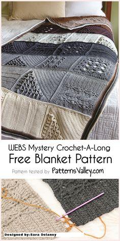 WEBS Mystery Crochet-A-Long - [Free Blanket Pattern] PatternsValley Crochet and Knit patterns #crochet #freecrochetpattern #craft #diy #crochetaddict  #crochetCAL