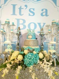 Blue elephants baby shower dessert table! See more party planning ideas at CatchMyParty.com!
