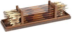 30 soya (war arrows), bamboo shaft (no),  narrow head (yajiri), triple feather flight (hane), box inscribed/dated No-shu Toki-gun Hitoichiba Kamigomori-mura no san, hitotsu kama wo motte, Ibuki Rokusuke Koroku kore wo tsukuru, Shibuya Ichiemon Yoshiaki kore wo hagu, Bunka jyugo-nen ni gatsu-hi (Produced in Kamigomori-mura of Hitoichiba in Toki-gun in No-shu [present Gifu Prefecture], carved by Ibuki Rokusuke Koroku, feathered by Shibuya Ichiemon Yoshiaki. Bunka 15 [1818] Feb), 90.2cm.