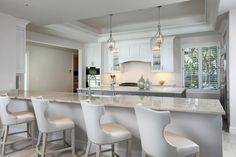 Transitional Kitchen with Legend Recessed Panel Cabinets, Arabescato Venato Marble Tile, Sasha Upholstered Bar Stools