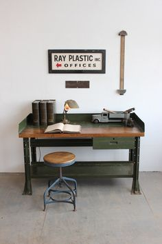 Vintage Industrial 5' Long Hallowell Workbench, By Dorset Finds