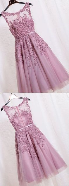 Sexy A Line Short Party Dress,Lavender Prom Dress,Beautiful Party Dress with Lace Appliques,Knee Length Prom Dress,Illusion Neckline Prom Dress