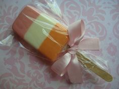 White Chocolate Striped Ice Cream Popsicle Favors