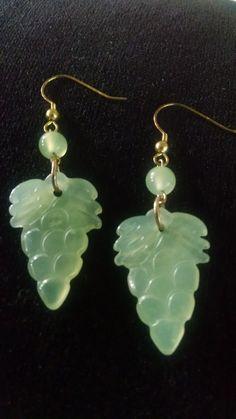 Natural jade grapes earrings HA150718