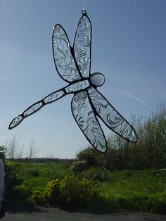 Recycled glass dragonfly