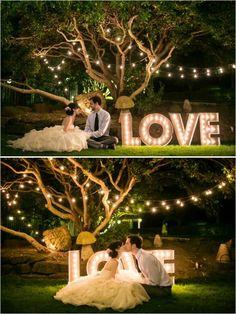 Wedding lights sign