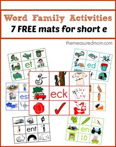 These are great hands-on phonics practice -- just print the free mats and cards. Then laminate and attach velcro dots. You'll have a fun and durable learning center!