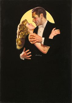 """Cover painting by Max Ginsburg (French/American b.1931) for the novel """"The Big Love"""" c.1980-2000"""