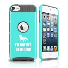 Apple iPod Touch 5th / 6th Shockproof Impact Hard Soft Case Cover I'd Rather Be Riding Horse (Teal-Grey)