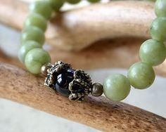 Meditation Wrist Mala Yoga Bracelet Olive New by SunnyBeachJewelry, $19.49