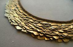 SALE - bib necklace bronze metal industrial antiqued gold. $150.00, via Etsy.