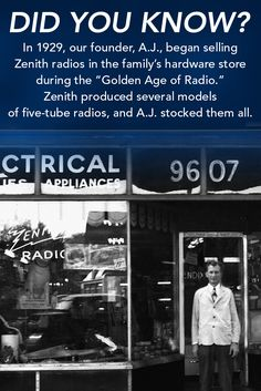 """By the mid-1920s, radio offered popular programs like boxing matches, football games, presidential speeches, news, and more. In recognizing the phenomenon of the """"Golden Age of Radio,"""" A.J. figured… why not give his customers what they want? So, he stocked every console and table model radio made by Zenith, while his competition carried limited selections. #pcrhistory #backintimeto1909"""