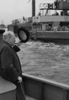 Prime Minister Sir Winston Churchill on the Thames River.