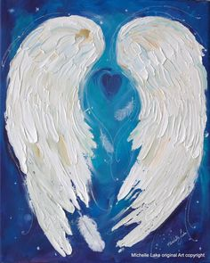 This heavily textured Angel Wings Painting is a combination of Acrylic paint and Oil Paint. The white of the wings is oil paint applied in the