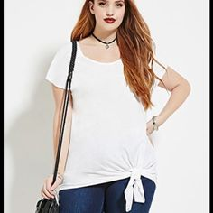 F21 Self Tie Top Forever 21+ - A short-sleeved semi-sheer knit top complete with a V-cutout back, a longline length, and a self-tie knotted hem. - 60% cotton, 40% modal Forever 21 Tops Tees - Short Sleeve