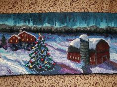 I don't remember pinning this, but I think I was channeling the snow treatment in my own snowy rug 'Annie's Birches'.