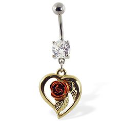 Navel ring with dangling yellow heart with pink rose | Belly Button Rings