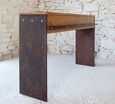 Steel plate console table